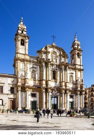 PALERMO SICILIA - MAY 1, 2017: Palermo Cathedral church