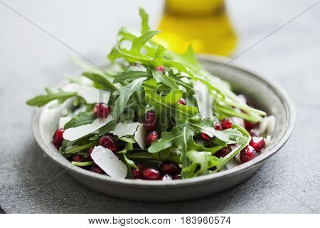 rocket, pomegranate and parmesan salad