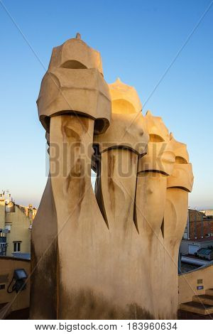 Barcelona, Spain - April 4, 2017: Casa Mila (La Pedrera) roof chimneys Gaudi UNESCO heritage