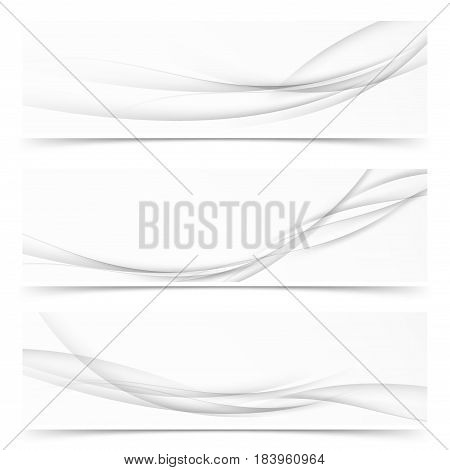 Collection of three minimalistic grayscale soft flyers. Swoosh gradient speed lines concept. Vector illustration