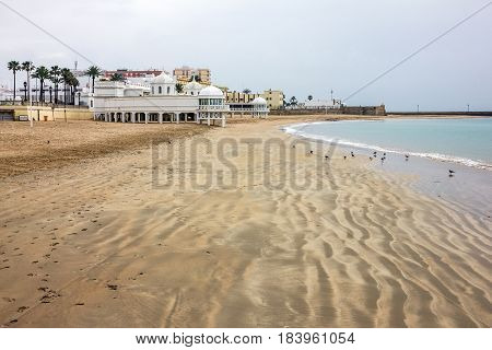 Cadiz resort town sand beach seascape, Spain.