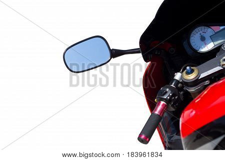 sport red motorcycle handlebar and chrome mirror isolated in white background