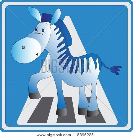 Funny Zebra. Crosswalk. Emblem, icon. Vector image. Road sign for children. Design for printing on fabric or paper, illustration for the book about the rules of the road.