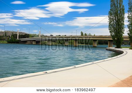 Lake Burley Griffin, Canberra, Australia, with a long walking path