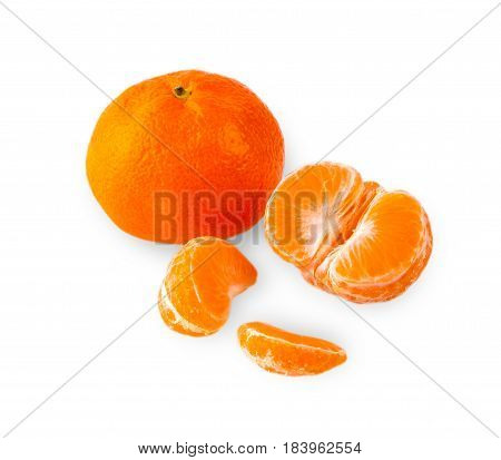 tangerines peeled tangerine and tangerine slices on a white background