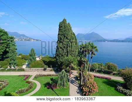 park at the island Isola Bella Lago Maggiore Italy
