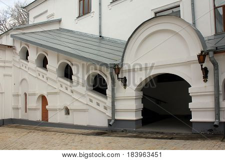 SVYATOGORSK, UKRAINE - APRIL 10, 2011: This is the medieval entrance to the refectory of the Holy Assumption Svyatogorsk Lauvra.