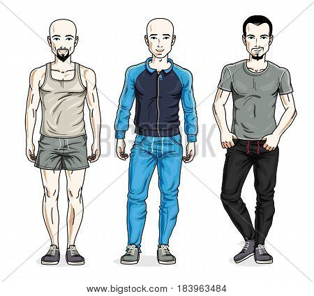 Confident Handsome Men Group Standing Wearing Stylish Sport Clothes. Vector People Illustrations Set
