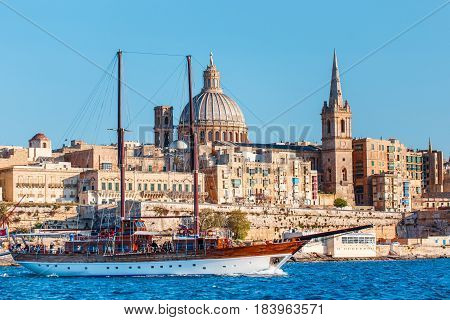 Valletta cityscape with big sailboat Malta, EU