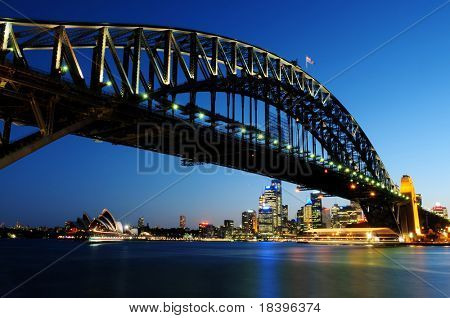 SYDNEY - NOV 24: The Harbour Bridge at night on Nov 24, 2009 in Sydney, Australia.