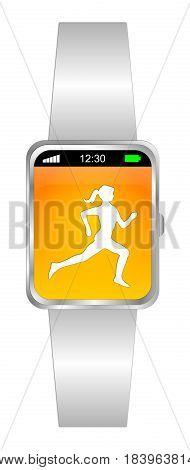 white orange smartwatch with female runner jogger - 3D illustration