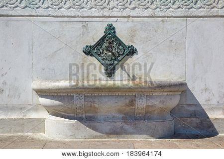 The Brass Fountain Spouts Over Basins On The Side Of German Fountain, Istanbul