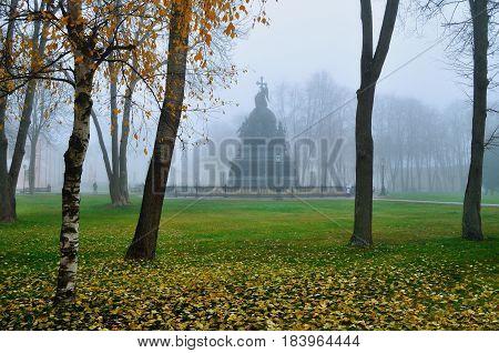 Veliky Novgorod Russia. Autumn architecture foggy landscape - monument Millennium of Russia in the Novgorod Kremlin in Veliky Novgorod Russia