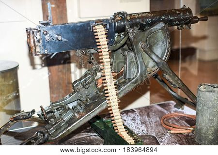 Heavy machinegun from World War One, preserved at museum