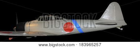 Japanese Zero World War Two fighter plane, isolated on black