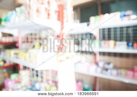 Blurred background of small grocery Small SME business concept