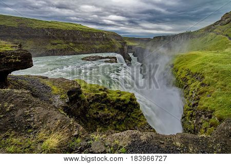 Famous and great Gullfoss waterfall in Iceland