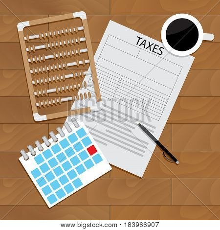 Accounting tax forms vector taxation calculator for finance taxes money illustration