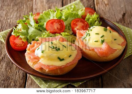 Delicious Eggs Benedict With Smoked Salmon, Hollandaise Sauce And Fresh Vegetables Close-up. Horizon
