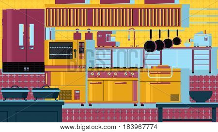 Spacious kitchen with equipment and dishes vector