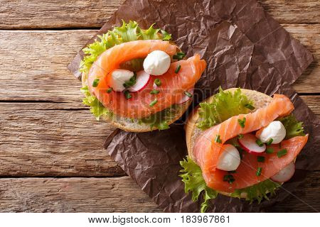 Sandwiches With Salted Salmon, Mozzarella, Frisee, Onion And Radish Close-up. Horizontal Top View
