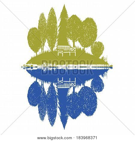 island with reflection in two colors. Vector illustration in color with a landscape motif