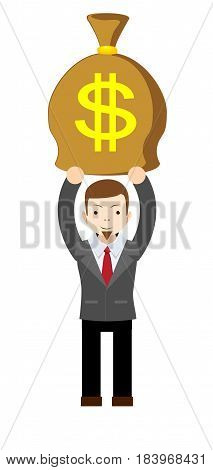 Businessman holding money bag. Stock vector illustration