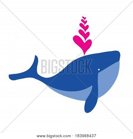 Blue whale icon. Cartoon blue whale with fountain of hearts vector illustration