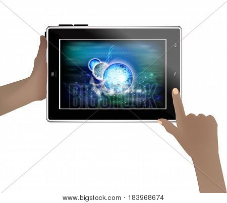 Space Wallpaper On A Tablet In Human Hands.