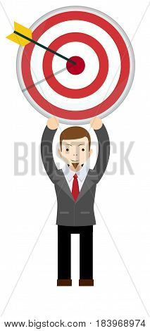 Business man thinking about target. Stock vector illustration