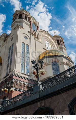 YEKATERINBURG RUSSIA - AUGUST 24 2013.Main facade view of the Church on Blood in Honour of All Saints Resplendent in the Russian Land in Yekaterinburg Russia. The church commemorates the Romanov sainthood.