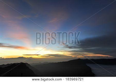 Sunrise at Vulcano mount Bromo located in Bromo Tengger Semeru National Park East Java Indonesia.