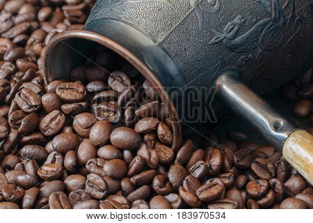 Turkish Coffee Pot, Cezve With Coffee Beans