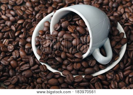 Cup Full Of Coffee Beans. Close-up.