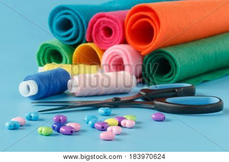 Subjects For Sewing Clothes. Spool Of Thread, Scissors, Ribbons, A Set Of Needles, Buttons Need For