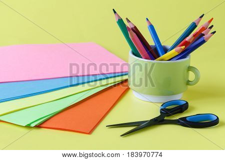 Sheets Of Colored Paper, Scissors, Glue, Pencil,  Set For Children Art