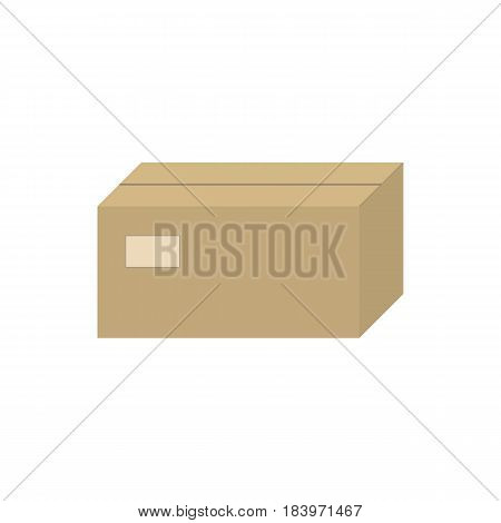Vector illustration of a closed brown cardboard box. Isolated white background. Icon carton.