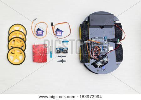 Artificial Intelligence. electronics module set. flat lay