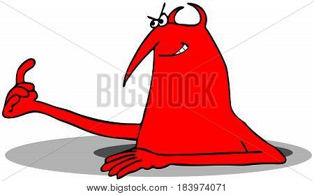Illustration of a red devil peering out of a hole in the ground beckoning someone to come closer with a finger gesture.