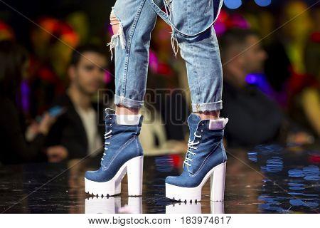 Fashion Show Runway Beautiful Blue Shoes
