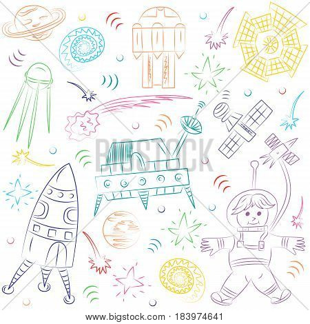 Colorful Hand Drawn Doodle Spaceman Spaceships Rockets Falling Stars Planets and Comets. Sketch Style. Vector Illustration.