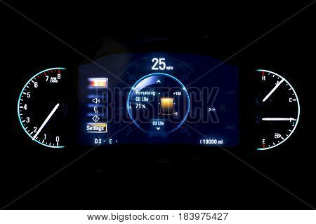 Modern Light Car Mileage On Black Background 25 Mph.