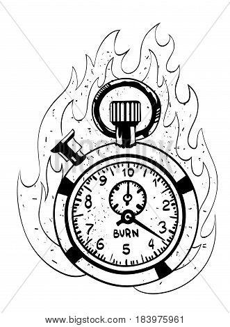 Cartoon image of flaming stop watch. An artistic freehand picture.