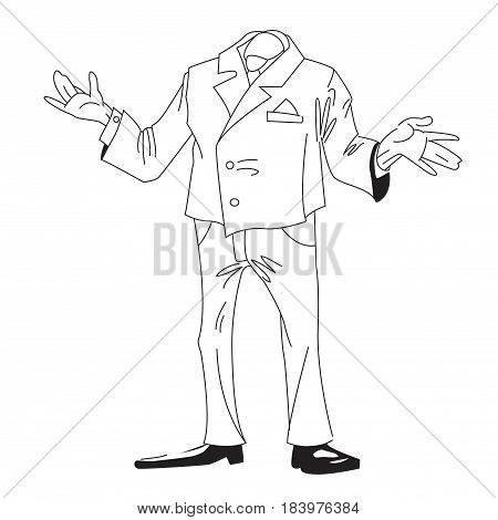 Cartoon image of headless businessman. An artistic freehand picture.