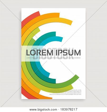 Annual report brochure design cover with multicolored semirings. Minimalistic A4 size template. Vector illustration.