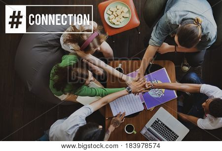 Connection Networking Online Word Hashtag