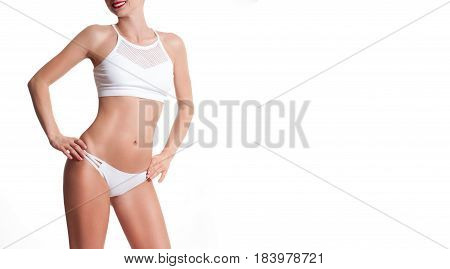 Diet Concept, Woman Measuring Her Waist With A Measure Tape