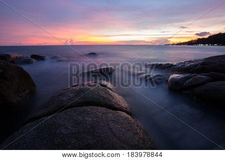 Long Exposure Of Sunset At The Sea,larn Hin Khao , Rayong,thailand , Sunset At White Rock Beach , Ra