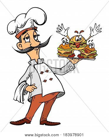Cartoon image of chef with burgers. An artistic freehand picture.