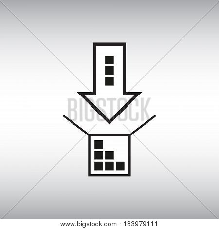 Arrow and box flat vector icon. Arrow and box isolated vector sign. Packaging process vector illustration.